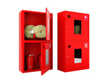 Red fire hose  and fire extinguisher cabinets on white background Stock Image