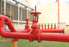 The Red fire hose valve Royalty Free Stock Images