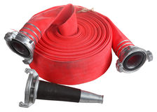 Red fire hose winder roll  roller, with coupler and nozzle. Stock Photos