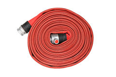 Red fire hose winder Stock Photography