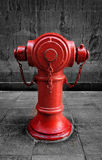 Red Fire Hydrant. Isolated against black and white background, Hong Kong Stock Photos