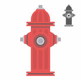 Red fire hydrant. Icon isolated on white vector Stock Photography