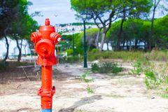 Red Fire hydrant on nature in Europe Royalty Free Stock Photo
