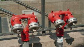 Red fire hydrant near the underground passage in Berlin. 4K video stock video footage