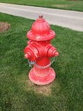 Red Fire Hydrant. To connect with a hose using a fire truck Royalty Free Stock Photos