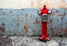 Red fire hydrant. Typical fire hydrant in the city of Funchal, Madeira, Portugal stock photography