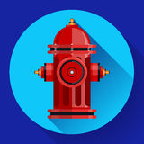 Red fire hydrant Vector icon for video, mobile apps. Royalty Free Stock Photography