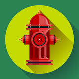 Red fire hydrant Vector icon for video, mobile apps. Stock Photography