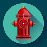 Red fire hydrant Vector icon for video, mobile Royalty Free Stock Image