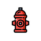 Red fire hydrant vector illustration. Line icon red fire hydrant,  vector illustration Royalty Free Stock Photo