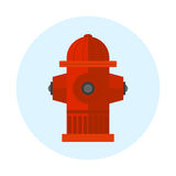 Red fire hydrant vector illustration metal pressure prevention street hose water emergency equipment. Icon red fire hydrant isolated vector illustration metal Royalty Free Stock Photo