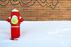 Red fire hydrant in winter Stock Photography