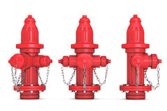 Red Fire Hydrants 3d rendering. Red Fire Hydrants on a white background 3d rendering Royalty Free Stock Images