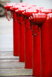 Red fire hydrants Stock Photo
