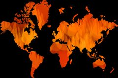 Global warming, worldwide problem, little fire icons as world map. Red fire icon as world map background on black, global pollution crisis with many places on Royalty Free Stock Photography
