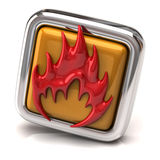 Red fire icon. 3d illustration of red fire symbol on orange button Stock Photos