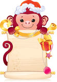 The Red Fire Monkey is a symbol of the new 2016 year. Symbol of Chinese horoscope - monkey with a scroll. Illustration with a copyspace. This image is a vector Stock Photo