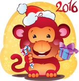 Red Fire Monkey - symbol of the new 2016 year. Royalty Free Stock Photos