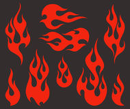 Red fire, old school flame elements. Isolated  illustration Royalty Free Stock Photo