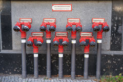 Red fire plugs in Berlin Stock Photo