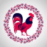 Red fire rooster as symbol of 2017 Royalty Free Stock Images