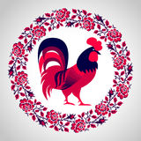 Red fire rooster as symbol of 2017 Royalty Free Stock Photos