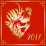 Red Fire Rooster, Chinese New Year 2017 Symbol. Hand drawn by Ink. Vector illustration.  Stock Photo