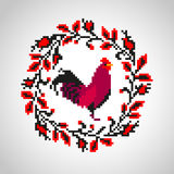 Red fire rooster embroidery as symbol of 2017 Stock Photo