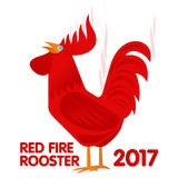Red fire rooster  illustration in flat style. Symbol on the Chinese calendar. New Year, symbol of the year. Advertisements, signs, stickers.  on a white Royalty Free Stock Image