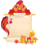 Red fire rooster with scroll and Christmas Ornament. Stock Photos