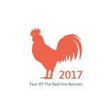Red fire rooster symbol of 2017. On the chinese calendar. silhouette of red rooster. isolated on white background. vector illustration Royalty Free Stock Images