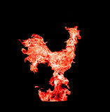 Red fire rooster, symbol of new 2017 year. Photo collage of red flame, on black background. The red fire rooster, symbol of new 2017 year. Photo collage of red Royalty Free Stock Photography