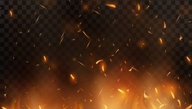 Red Fire sparks vector flying up. Burning glowing particles. Flame of fire with sparks in the air over a dark night. Firestorm texture. Isolated on a black Royalty Free Stock Photos