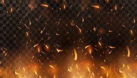 Red Fire sparks vector flying up. Burning glowing particles. Flame of fire with sparks in the air over a dark night. Firestorm texture. Isolated on a black Royalty Free Stock Images