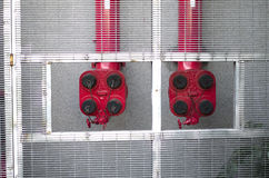 Red fire sprinklers for building stock photos