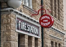 Two Red Fire Station Signs round and rectangle Stock Image
