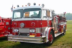 Red Fire Truck. This is a picture of an old red fire engine taken at a classic truck show Stock Image