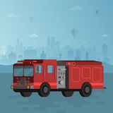 Red fire truck on blue cityscape background vector  illustration. Red fire truck on blue cityscape background vector flat style illustration Stock Photo