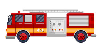 Red fire truck engine on white vector illustration. Royalty Free Stock Image
