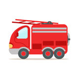 Red fire truck, fire emergency colorful cartoon vector Illustration. Isolated on a white background Stock Photos