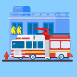 Red Fire Truck or Fire Engine Flat illustration Royalty Free Stock Image