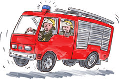 Red Fire Truck Fireman Caricature Royalty Free Stock Photos