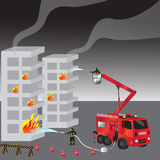 Red fire truck and fireman in uniform. Firefighters. Fire brigade and team. Rescue. Vector illustration. Brigade extinguishing flames in residential house Stock Images