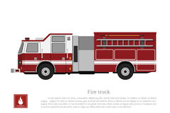 Red fire truck in a flat style on a white background. Car of fire department. Vector illustrationn Royalty Free Stock Photography
