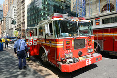 Red Fire Truck in New York City Stock Photo