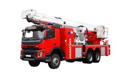 Red fire truck. Rescuers. stock photography