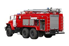 Red fire truck. Rescuers. stock photos