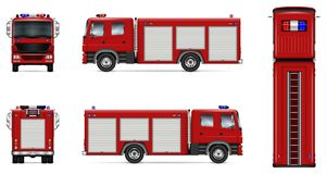 Red fire truck vector mockup. Fire truck vector mock-up. Isolated template of red lorry on white. Vehicle branding mockup. Side, front, back, top view. All Stock Images