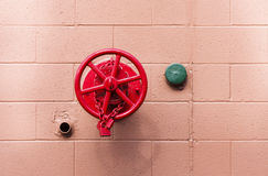 Red Fire Valve and Green Cover Stock Photography