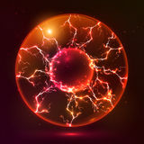 Red fire vector plasma ball. On dark background Stock Photography